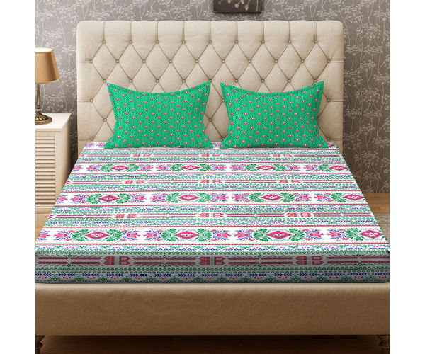 Stellar Home Blockbuster Collection - Trendy Lotus & Floral Pattern Bedsheet With 2 Sack Pillow Covers (100% Cotton, Queen Size)