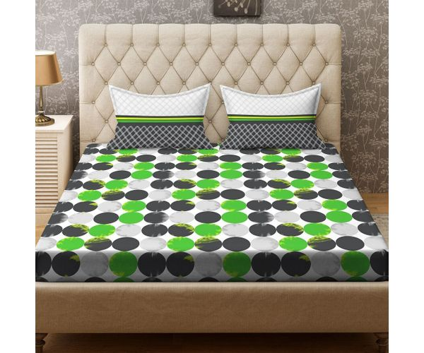 Stellar Home Iris Collection - Green & Black Circular Geometric Print Bedsheet With 2 Pillow Covers (100% Cotton, Queen Size)