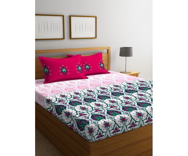 Stellar Home Iris Collection - Striking Geometric Floral Print Bedsheet With 2 Pillow Covers (100% Cotton, Queen Size)