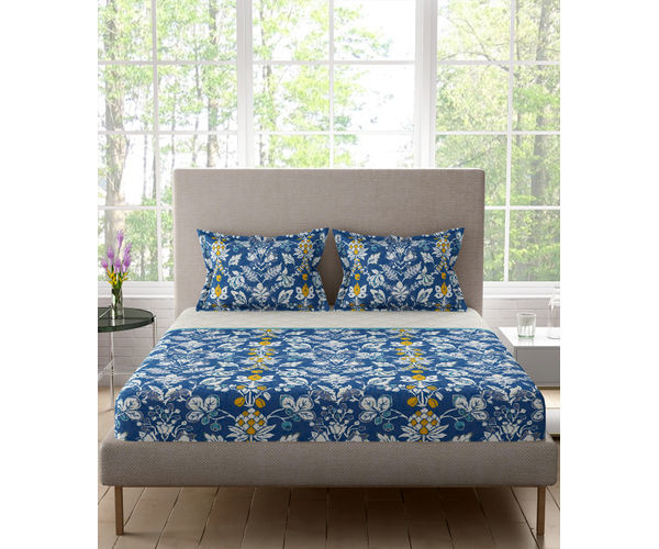 Stellar Home Lilly Plus Collection - Deep Blue & White Floral Print Bedsheet With 2 Pillow Covers (100% Cotton, Super King Size)