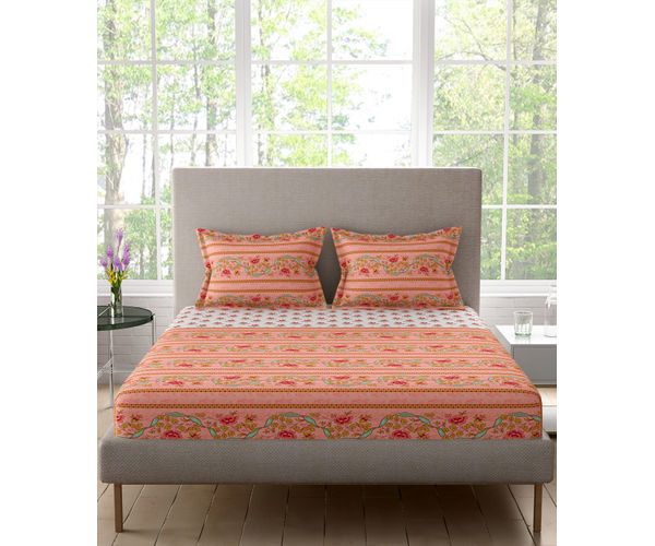 Stellar Home Lilly Plus Collection - Red & Green Floral Bedsheet With 2 Pillow Covers (100% Cotton, Super King Size)