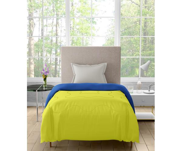 Stellar Home Enya Collection - Blazing Yellow & Snorkel Blue Printed Reversible Single Size Comforter (Polyester)