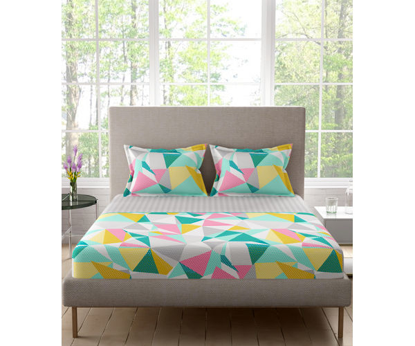 Stellar Home Lilly Plus Collection - Multicoloured Abstract Print Bedsheet With 2 Pillow Covers (100% Cotton, Super King Size)