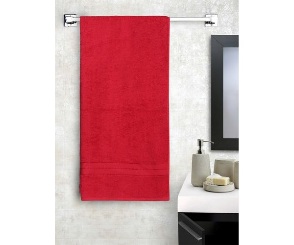 Stellar Home Crystal Plus Collection - Medium Tango Red 1 Piece Bath Towel, GSM - 380 (100% Cotton, 75 x 150 cms)