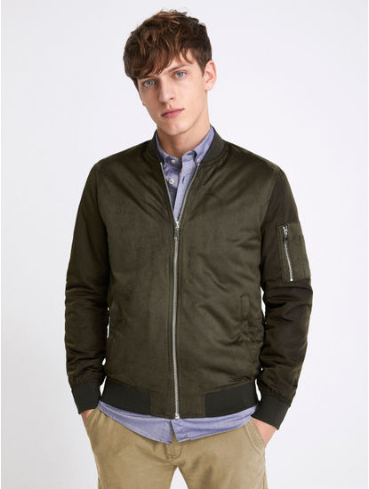 Olive Solid Straight Fit Bomber Jacket