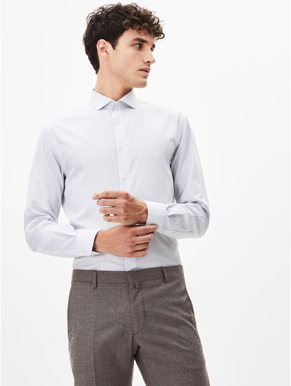 Light Grey Striped Formal Shirt