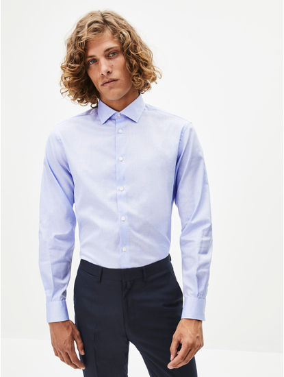 Light Blue Printed Formal Shirt