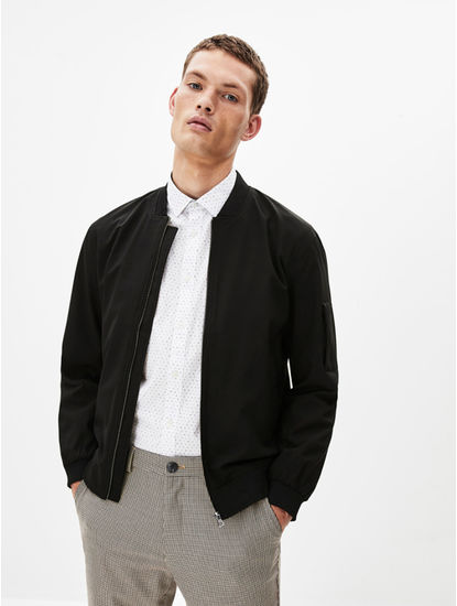 Black Solid Straight Fit Bomber Jacket