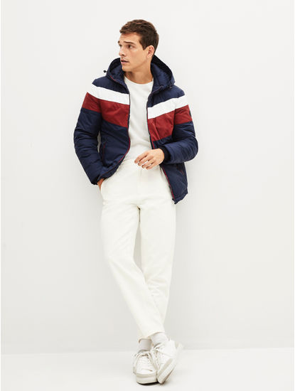 Navy Colourblock Bomber Jacket