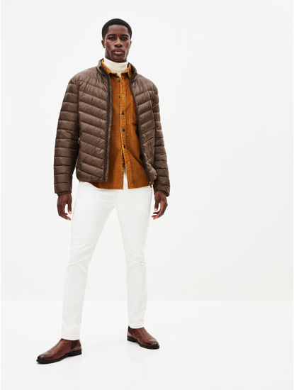 Brown Solid Bomber Jacket