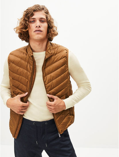 Brown Solid Gilet