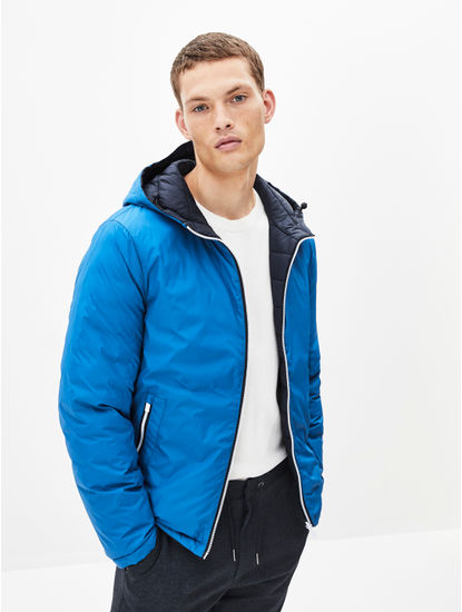 Reversible Cobalt Blue Bomber Jacket With Hood