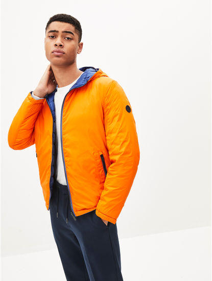 Orange Solid Reversible Bomber Jacket