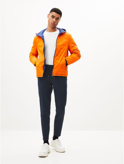 Reversible Orange Bomber Jacket With Hood