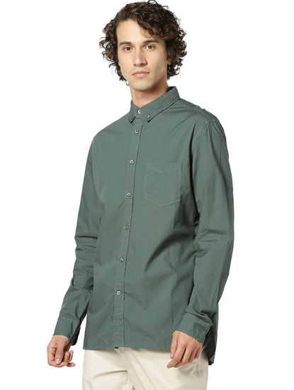 100% Cotton Dark Green Casual Shirt