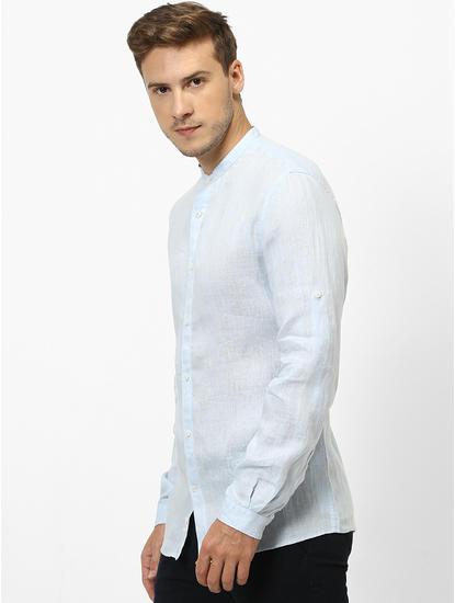 100% Linen Mao Collar Light Blue Shirt
