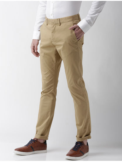 Beige Solid Slim Fit Trousers