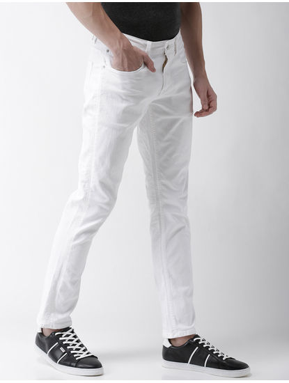 White Straight Slim Fit Jeans