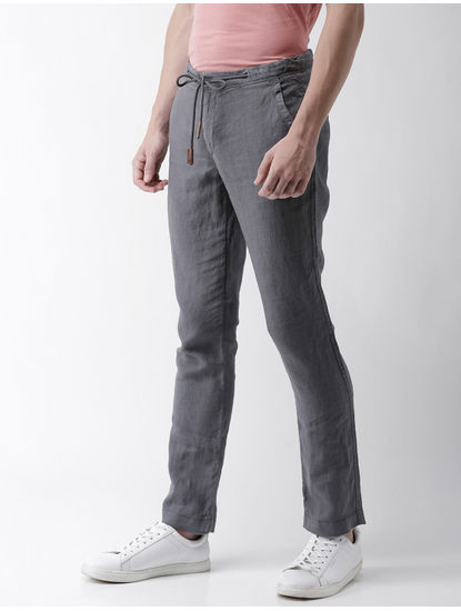 Dark Grey Melange Straight Chinos