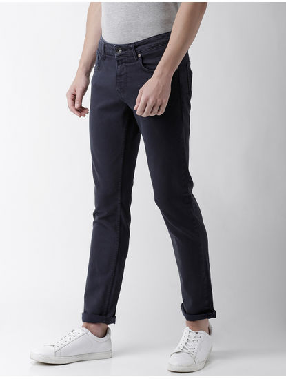 Navy Solid Slim Fit Jeans