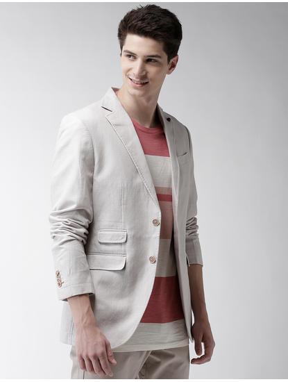 Grey Solid Blazer