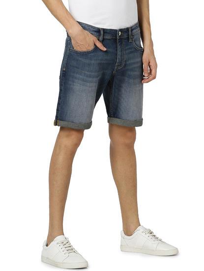 Straight Fit Cotton Blend Blue Shorts