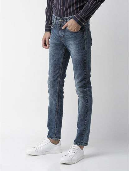 Cotton Blend Slim Fit Dark Blue Jeans