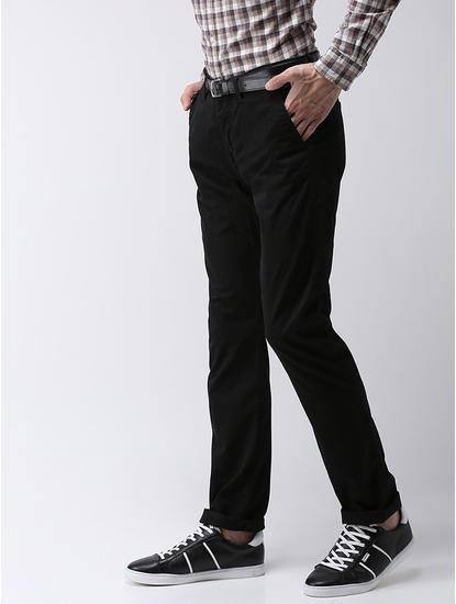 Straight Fit Cotton Blend Black Trouser