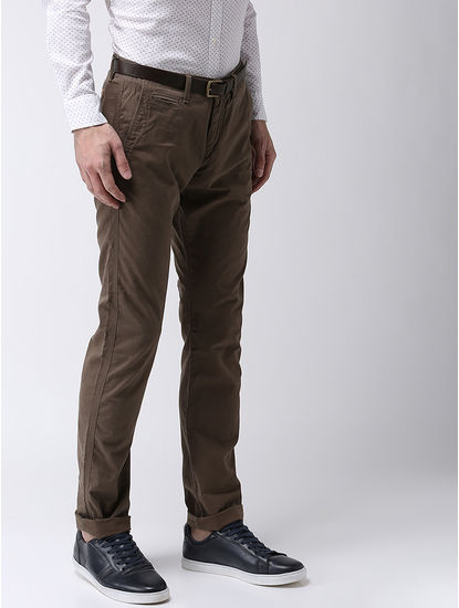 Straight Fit Cotton Blend Green Trouser