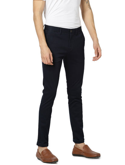 Skinny Fit Cotton Blend Blue Trouser