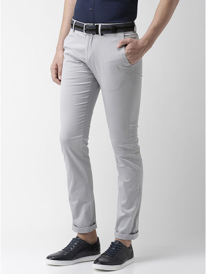 Slim Fit Cotton Blend Light Grey 01 Trouser