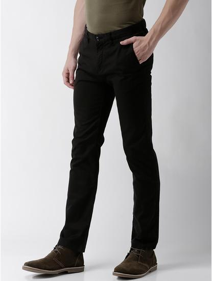 Slim Fit Cotton Blend Black Trouser