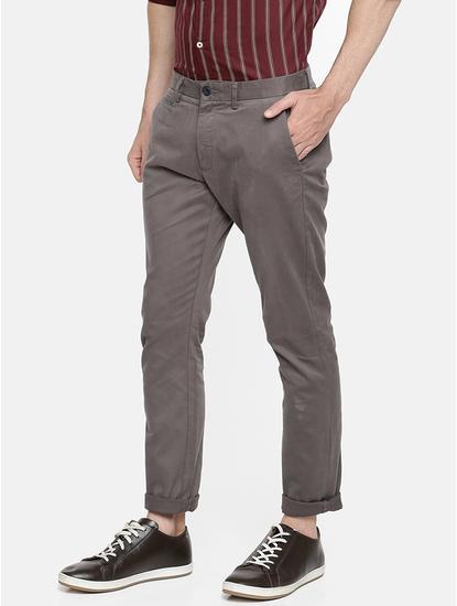 Slim Fit Cotton Blend Grey Trouser