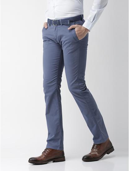 Straight Fit Cotton Blend Blue Trouser