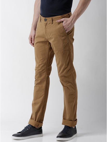 Straight Fit Cotton Blend Brown Trouser