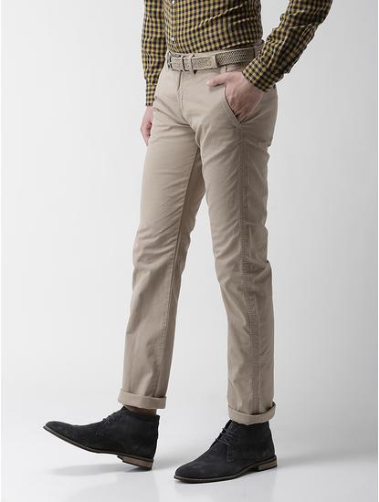 Straight Fit Cotton Blend Beige Trouser