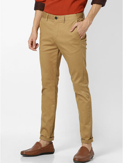 Skinny Fit Cotton Blend Brown Trouser