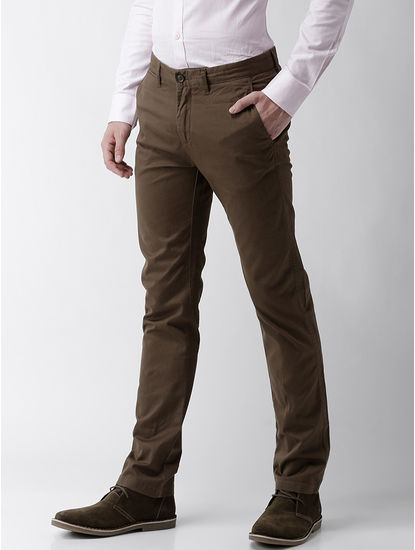 Slim Fit Cotton Blend Kaki Trouser