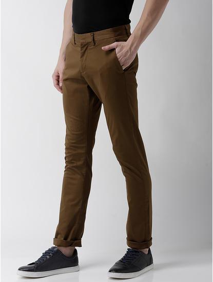 Slim Fit Cotton Blend Brown Trouser