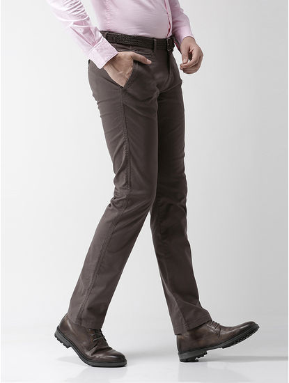 Straight Fit Cotton Blend Grey Trouser