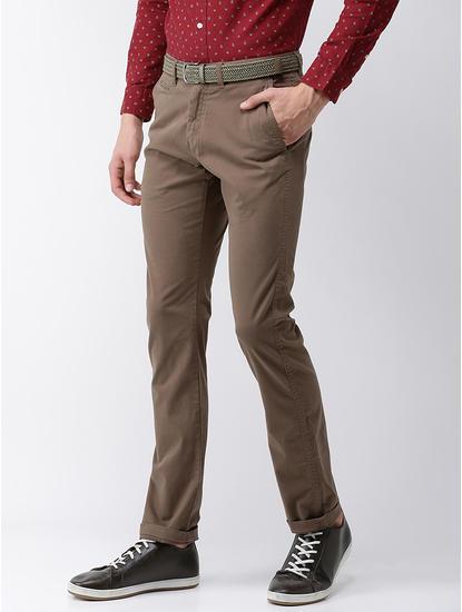 Straight Fit Cotton Blend Khaki 01 Trouser