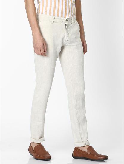 100% Linen Slim Fit Natural Pants