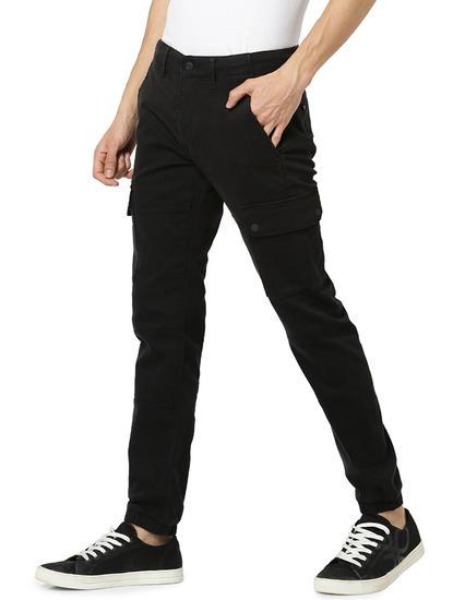 Regular Fit Cotton Blend Black Trouser