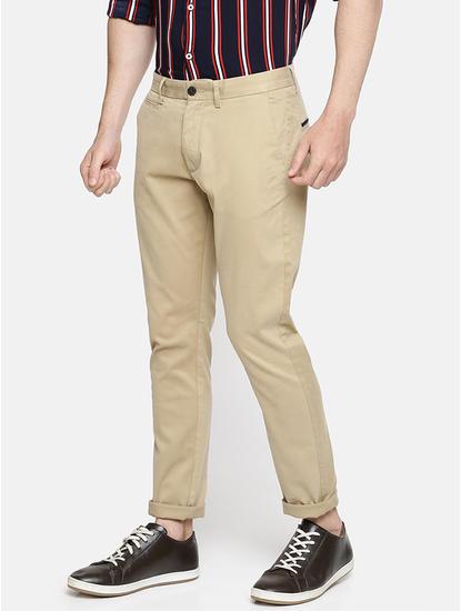 Slim Fit Cotton Blend Beige Trouser
