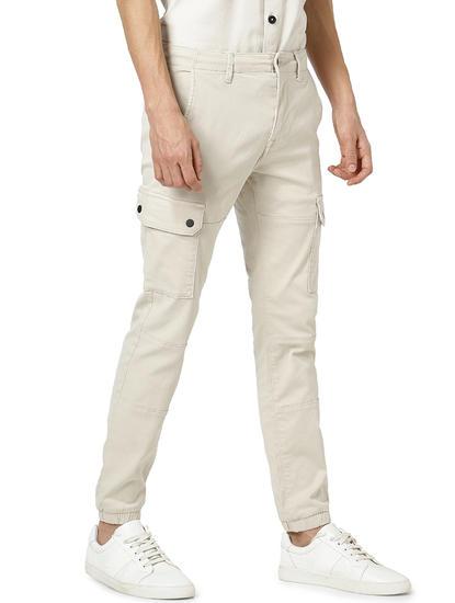 Regular Fit Cotton Blend Beige Trouser