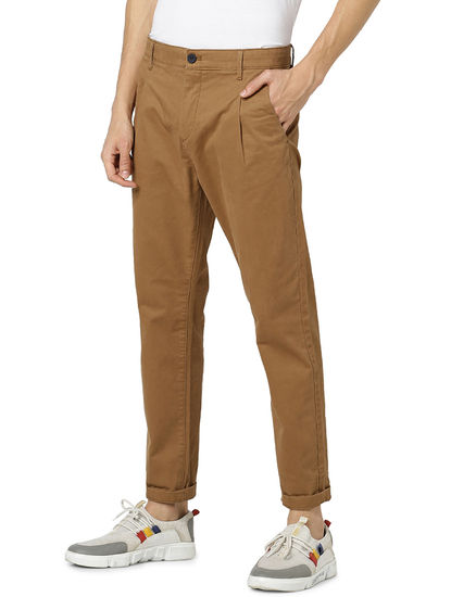 Relaxed Fit Cotton Blend Brown Trouser