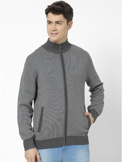 Regular Fit high Neck Grey Sweatshirt