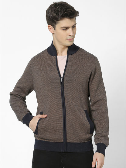 Regular Fit high Neck Navy Sweatshirt