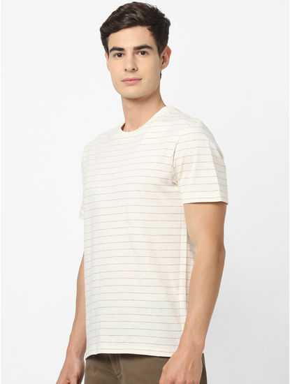 100% Cotton Off White Striped T-Shirt