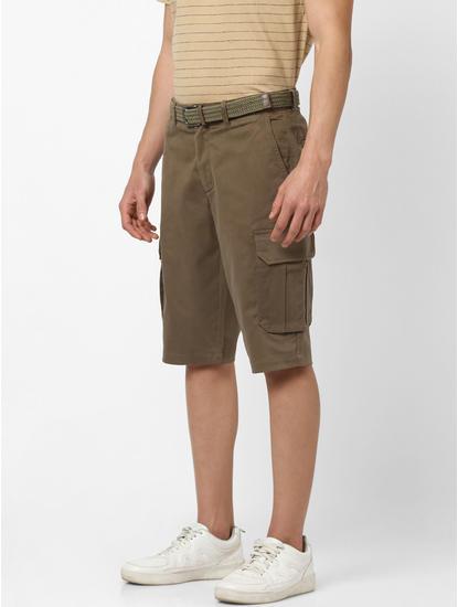Straight Fit Kaki Cargo Shorts